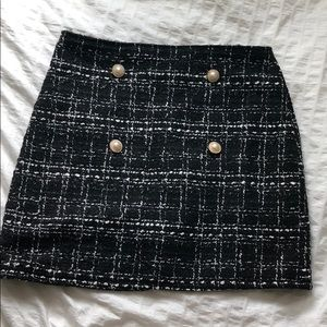 SHEIN Black Tweed Skirt with Faux Pearls